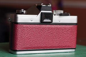 Recovered Praktica MTL 3 Rear View with new luxurious burgundy camera leather