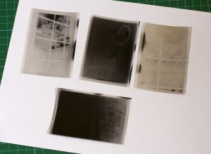 Vintage film negatives found in an old contact printing frame