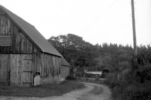 Black and white photograph taken with vintage Voigtlander Vito 1 of a farm barn and vehicle tire worn lane