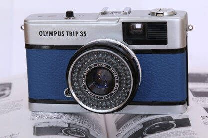 Milly Cameras camera recovering leather skins olympus trip yale blue
