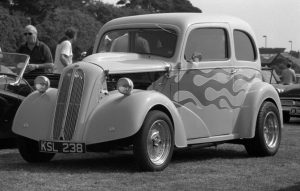Hot Rod black and white photograph taken with Ashi Pentax Spotmatic SP with Carl Zeiss Pancola 50mm 1:8 lens