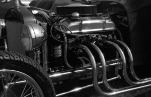 Hot Rod manifold black and white photograph taken with Ashi Pentax Spotmatic SP with Carl Zeiss Pancola 50mm 1:8 lens